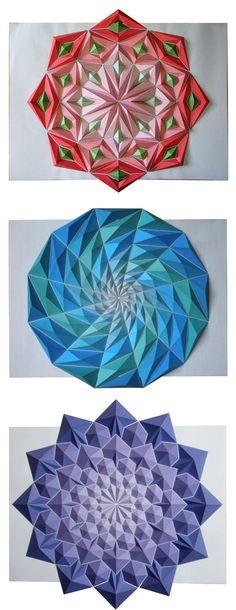 Click for more pics! Colorful Origami Mosaics by Kota Hiratsuka #origami #paper #art