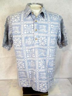 73b6ae0f5256 Men Hawaiian ALOHA shirt pit to pit 24 L vintage 1990s cotton pullover slim  blue