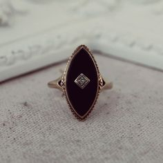 Antique Victorian Marquise Black Onyx Diamond 10k Ring- Mourning ring.