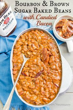 Bourbon & Brown Sugar Baked Beans with Candied Bacon.  Epic & the Perfect side for your next Grill out!