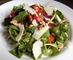 Italian Mixed Salad with Homemade Roasted Red Peppers, Pine Nuts and Shaved Parm Recipe - The Lemon Bowl