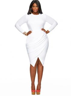 PLUS SIZE WHITE DRESS - Kapres Molene