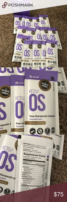 Pruvit keto OS ketones Box has been opened but all 15 packs are inside. Chocolate swirl flavor, authentic Pruvit keto OS therapeutic ketones with caffeine pruvit Other