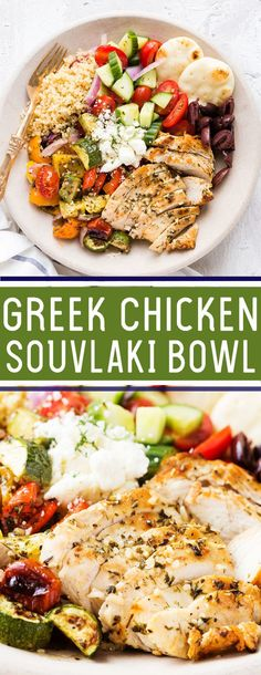Greek Chicken Souvlaki Bowl Greek Chicken Souvlaki Bowl: Grilled chicken and roasted vegetables served over quinoa with a fresh cucumber salad, Kalmata olives, and feta, garnished with fresh dill recipes healthy Greek Chicken Souvlaki, Greek Marinated Chicken, Greek Chicken Salad, Greek Chicken Breast, Fresh Chicken, Chicken Breasts, Greek Vegetables, Roasted Vegetables, Roasted Vegetable Salad