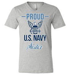 Proud U.S. Navy Sister Canvas Unisex V-Neck T-Shirt