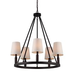 Feiss Lismore Oil Rubbed Bronze Five Light Chandelier With Ivory Fabric Shade On SALE $423