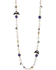 CARVED FLOWER PEARL LONG NECKLACE PURPLE accessories jewelry necklaces fashion