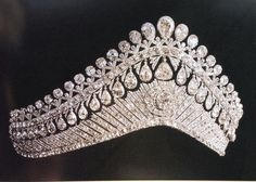 The tiara worn by Tsarina Alexandra, a large Russian kokoshnik, with multiple pear-shaped diamonds, both top and bottom.