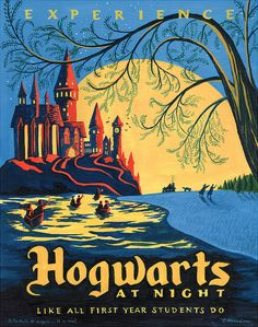 Or spend a night at the historical Hogwarts. | 19 Gorgeous Retro Travel Posters To Fantasy Destinations