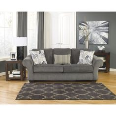 Signature Design by Ashley Makonnen Charcoal Fabric Sofa | Overstock.com Shopping - The Best Deals on Sofas & Loveseats