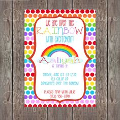 Instant download rainbow birthday invitation card editable pdf digital rainbow birthday invitation by dimplesandsunshine on etsy stopboris Choice Image