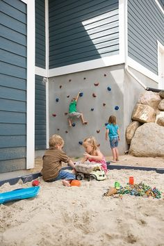 Love the idea of an outdoor climbing wall over a giant sandbox. - Build them an Outdoor Climbing Wall or another of these 8 DIY Outdoor Projects Diy Projects For Kids, Home Projects, Outdoor Projects, Kids Diy, Backyard Projects, Backyard Ideas For Kids, Outdoor Ideas, Garden Projects, Climbing Wall Kids