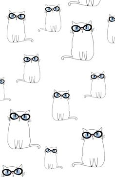 Kitty wearing glasses kids art print