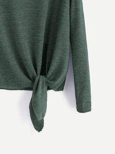 16ec6ff23 Dark Green Drop Shoulder Criss Cross Tie Front T-Shirt Cayendo
