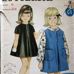 Vintage Girls Dress Pattern Or Jumper And Blouse by kalliedesigns