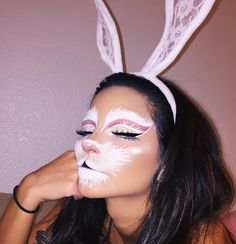 """Last night getting into the Halloween spirit 🐇💞 My favorite part about this is that the cut crease is fluffy :) ☁️ . Used @nyxcosmetics Jumbo eye pencil in """"milk"""" for the large white areas, @nyxcosmetics white liquid liner for fur detail . Pink areas are @morphebrushes 35n palette// glitter on the lid is @nyxcosmetics face and body glitter in """"ice"""" // Black eyeliner and other black detail is @sigmabeauty """"Line Ace"""" liquid liner ✔️ Highlight is @sleekmakeup """"Soltice"""" palette"""
