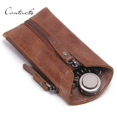 CONTACT'S Vintage Genuine Leather Key Wallet Women Keychain Covers Zipper Key Case Bag Men Key Holder Housekeeper Keys Organizer *** Podrobneye otzyvy o produkte, posetiv ssylku na izobrazheniye.