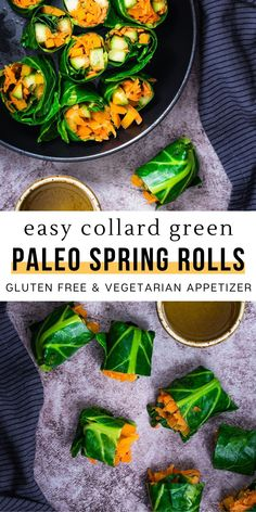 These simple collard green spring rolls are so delicious and flavorful! It is a nutritious appetizer idea! They are such an easy and healthy recipe to make and are great for those following a gluten free, paleo, or vegetarian diet. You can have them along side any meal for lunch or dinner, or just eat it as a snack by itself! Each bite is packed fresh vegetables and nutrients. Try these little green wraps with some of your favorite fillings and dipping sauces!
