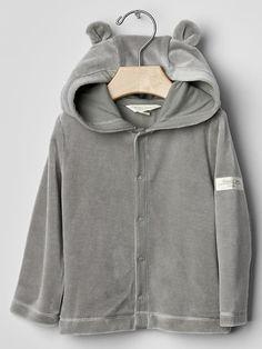 Organic velour bear hoodie Product Image
