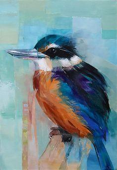 sheila brown nz bird artist, kingfisher, orange, blue and green colours