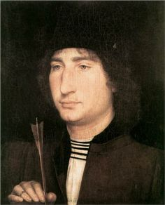 Portrait of a Man with an Arrow - Hans Memling.  1478-80.  Oil on panel.  31.9 x 25.8 cm.  National Gallery of Art, Washington DC, USA.