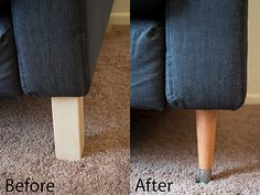 The Sofa Saga Part 2 (how to replace karlstad legs)  This will be part of my ikea couch update