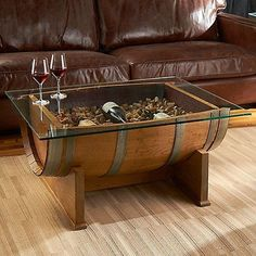 French oak barrel cocktail table (natural finish) - wine lovers - do it yourself decoration Wine Barrel Coffee Table, Diy Coffee Table, Wine Table, Oak Table, Barrel Bar, Do It Yourself Decoration, Wine Barrel Furniture, French Oak, French Wine