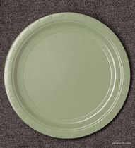 Green Tea 7\  Paper Dessert Plate 24-Pack & Peach Solid Color Party Paper Plates 8-7\