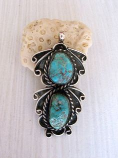 1970s vintage sterling silver turquoise navajo pendant