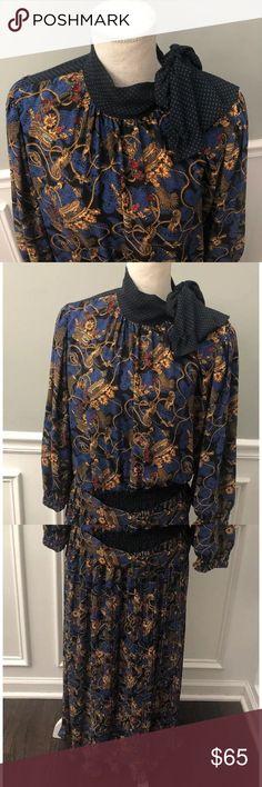 Spotted while shopping on Poshmark: Vintage Diane Freis Georgette Blue Dress One Size! #poshmark #fashion #shopping #style #Diane Freis #Dresses & Skirts