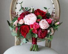 Burgundy And Blush Wedding, Burgundy Bouquet, Blush Bouquet, Gold Wedding, Purple Bouquets, Purple Wedding, Wedding White, Fall Bouquets, Church Wedding