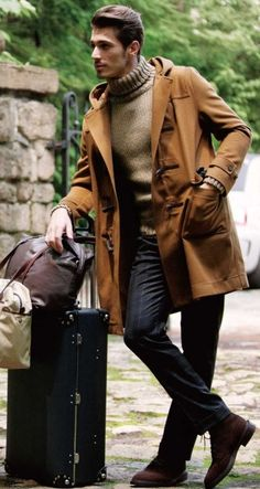 Casual Menswear ~ turtleneck sweater, hooded camel topcoat, pinstriped pant