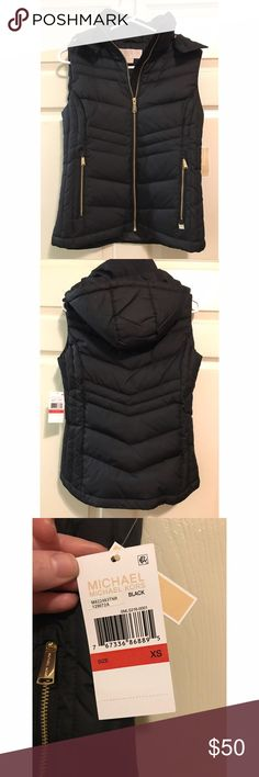 Michael Kors Down Puffer Vest Michael Kors down puffer coat. NWT. Size XS. PERFECT CONDITION. Black with gold detailing. MICHAEL Michael Kors Jackets & Coats Puffers