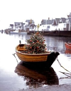 Love this little Christmas tree in a a little boat in the water!