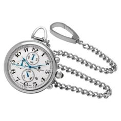 Charles-Hubert, Paris Stainless Steel Quartz Pocket Watch Charles-Hubert, Paris. $120.00. Japanese quartz movement. Stainless steel 42mm open face case with a matching curb chain. Deluxe gift box. White dial with date display and chronograph function