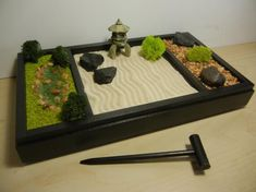Zen garden Pond - Raking Landscape, Rock Garden and Japanese Pond DIY Kit Desk Zen Garden, Zen Rock Garden, Garden Rake, Mini Zen Garden, Zen Garden Design, Garden Pond, Japanese Sand Garden, Garden Stones, Jardin Zen Miniature