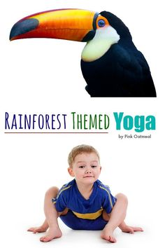 Yoga poses can easily be incorporated into a rainforest theme. Yoga is an awesome rainforest activity. Make kids yoga fun! Rainforest Preschool, Preschool Jungle, Rainforest Theme, Rainforest Animals, Rainforest Classroom, Rainforest Crafts, Motor Activities, Preschool Activities, Nanny Activities