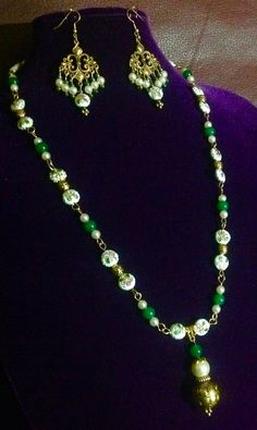 Cloisonné necklace set with glass beads and pearls.