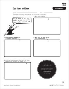 Cool Down and Draw Worksheet - Part of Mindful Practices' newest book 'Cooling Down Your Classroom'