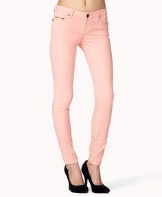 Life In Progress™ Zip Pocket Colored Skinny Jeans | FOREVER 21 - 2008586121