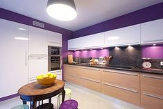 Helping you lot to ease your daily footing inwards the kitchen amongst their functions Strangely Beautiful Purple Kitchen Appliances Purple Kitchen Walls, Purple Kitchen Cabinets, Kitchen Cabinet Colors, Painting Kitchen Cabinets, Kitchen Paint, Kitchen Colors, Purple Walls, Latest Kitchen Trends, Cuisines Design