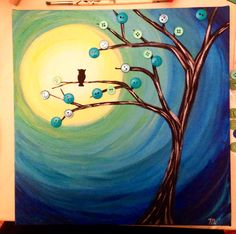 Owl silhouette on tree with buttons painting art  #owl #silouette #moon for sale, etsy  https://www.etsy.com/shop/ColorTherapyGallery