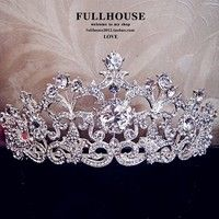 Hair Jewelry 18K White Gold Plated Vintage Rhinestone Bridal Tiara Wedding Hair Accessories Crystal