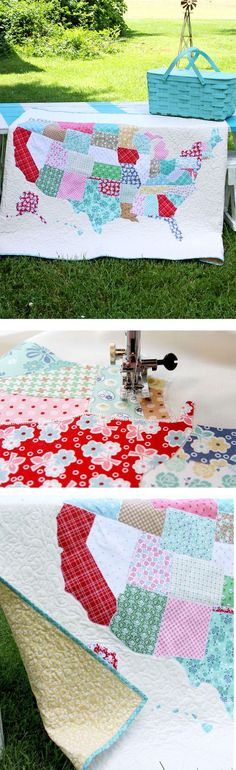 We are getting road trip ready with this U.S. lap quilt free tutorial and pattern from Flamingo Toes on http://fabric.com! Click for the pattern and instructions.