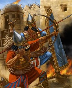 Assyrians at a Siege. Artwork by Johnny Shumate. Bronze Age, Ancient Near East, Ancient Rome, Ancient History, Military Art, Military History, Statues, Medieval, Sumerian