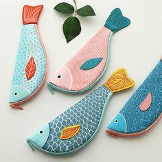 fabdf14be663 Creative Happy Fish Pencil Case Pen Bag Large Canvas Bags South Korea  Stationery School Supplies