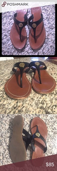 Tory Burch Cameron flip flops Shiny black leather, small scuffs on front toe but not noticeable when wearing. Tory Burch Shoes Sandals