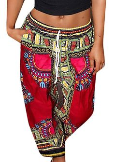 09b861423a6b0 Generic Women Boho Drawstring Traditional African Print Wide Pant at Amazon  Women s Clothing store