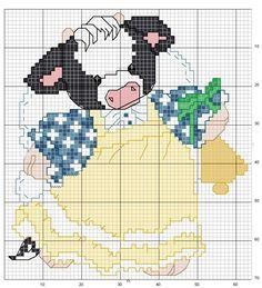 <3 Cross Stitch Cow, Cross Stitch Boards, Cross Stitch For Kids, Cross Stitch Animals, Cross Stitching, Cross Stitch Embroidery, Cross Stitch Alphabet Patterns, Plastic Canvas Crafts, Cute Animals