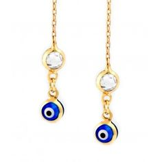 14K Gold Evil Eye Threader Earrings - Save 25% Use promo code : HALLOWEEN